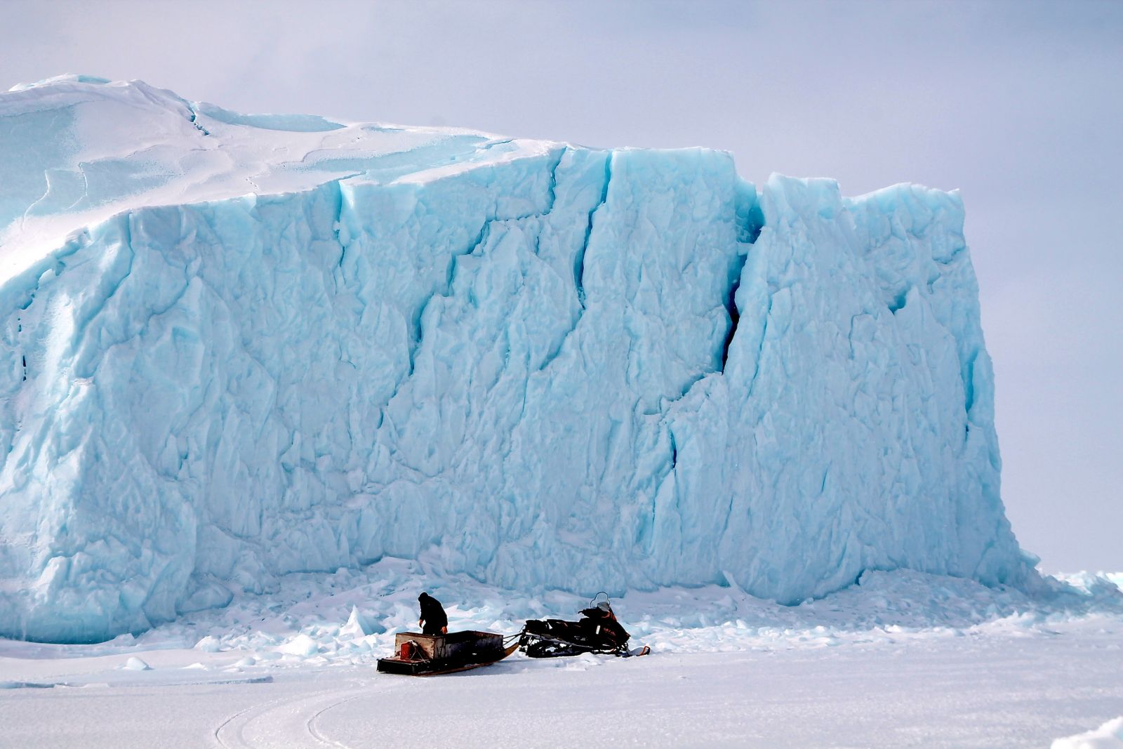 collecting iceberg ice for drinking water