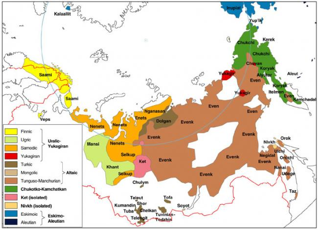 Map of Indigenous Peoples of Siberia